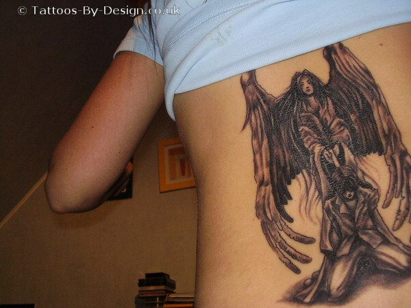 Cool Black Color Ink Dark Angel Tattoo Design On Back For Girls