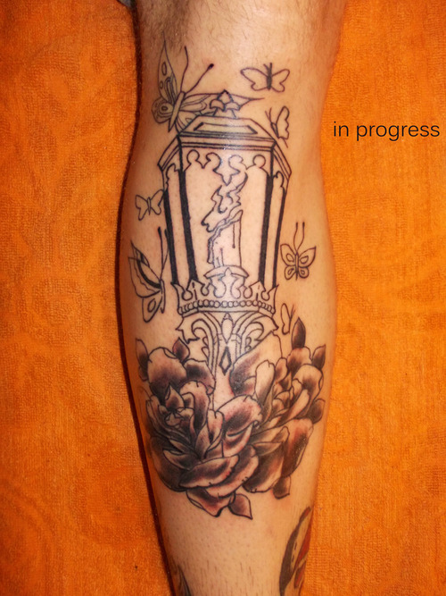 Cool Brown And Black Color Ink Candle Lamp Tattoo On Arm For Boys