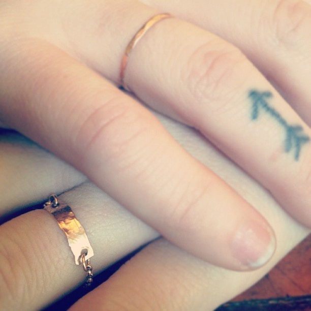 Cool Grey Color Ink Arrow Tattoo On Finger For Girls