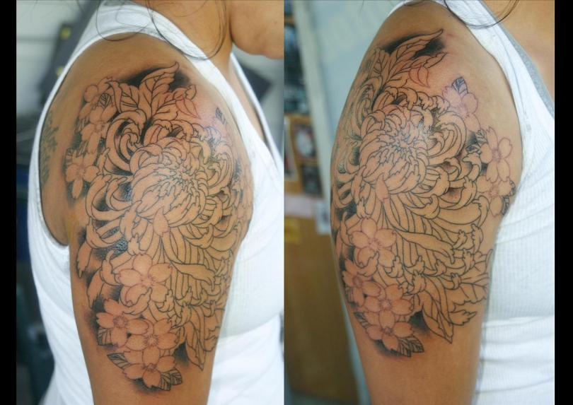 Cool Red And Black Color Ink Half Sleeve Chrysanthemum Tattoo Image For Girls