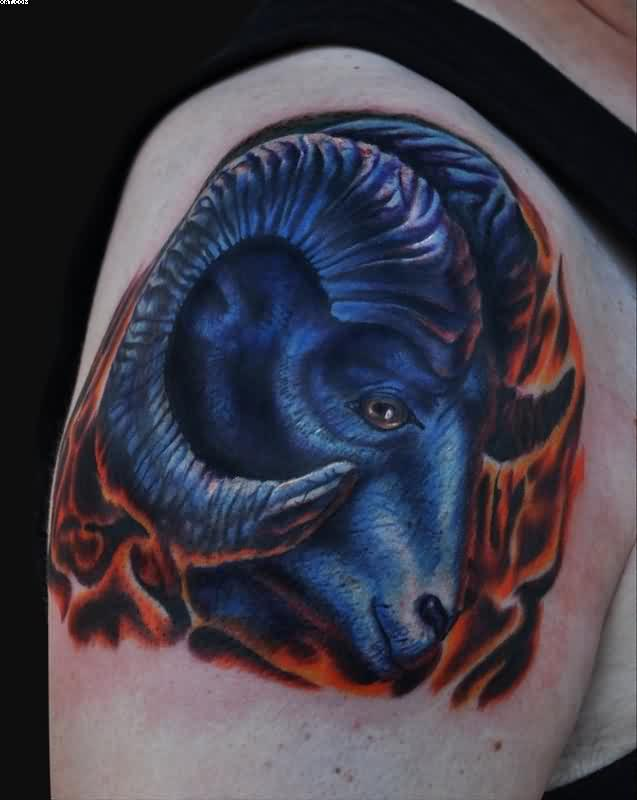 Cool Red Black And Blue Ink Aries Head Tattoo On Shoulder For Girls