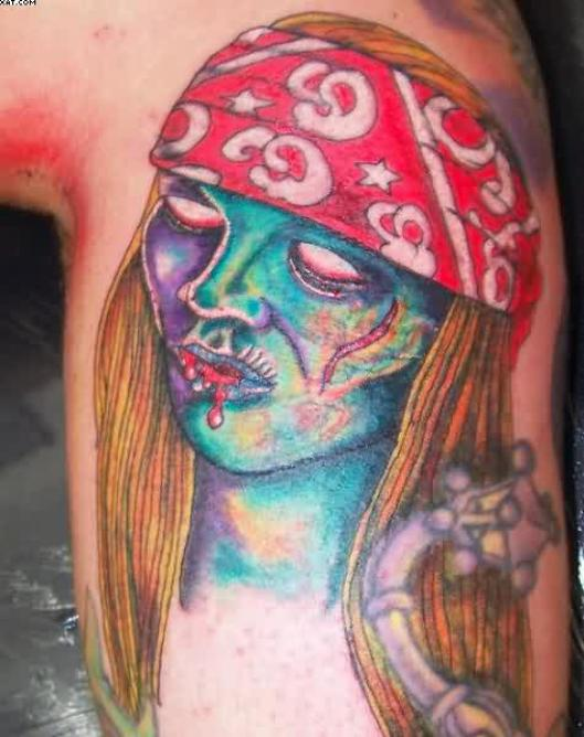 Cool Zombie Axl Rose Tattoo On Back