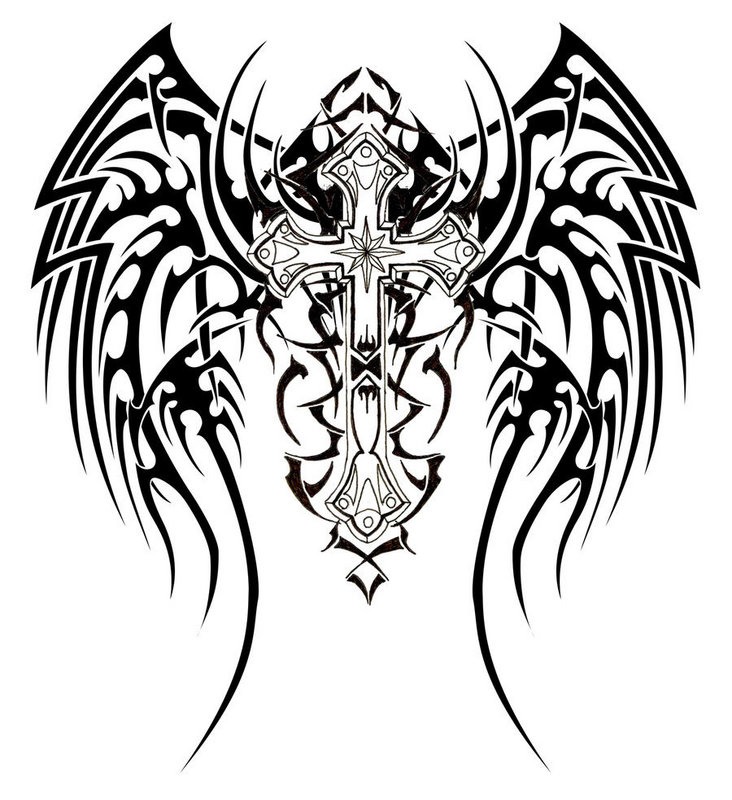 Coolest Black Color Ink Tribal Cross Tattoo Design For Girls
