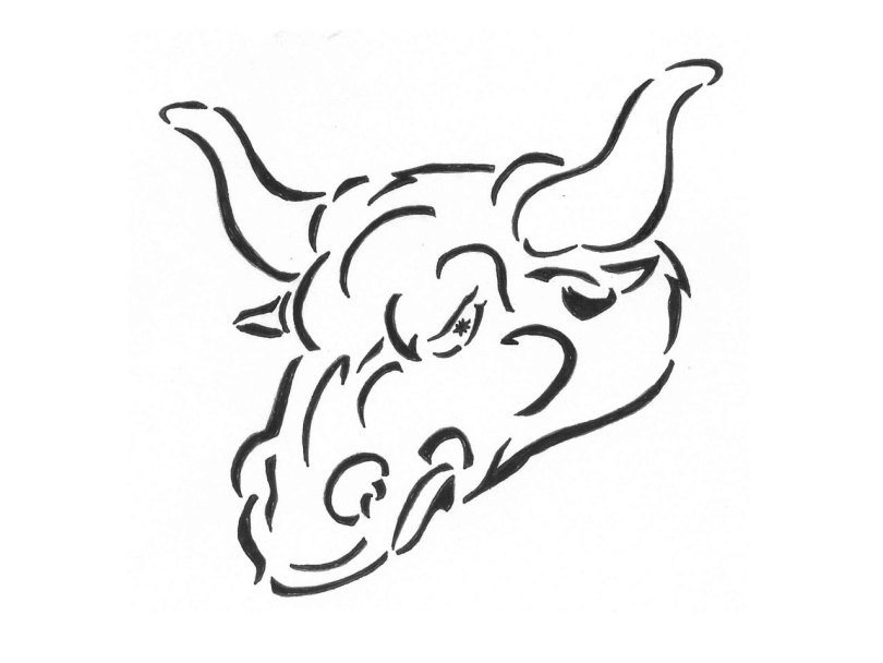 Coolest Black and White Color Angry Bull Head Tattoo Design For Boys