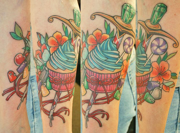 Coolest Blue Green Black And Red Color Ink Candy Cup Cake Tattoo Design On Arm For Boys