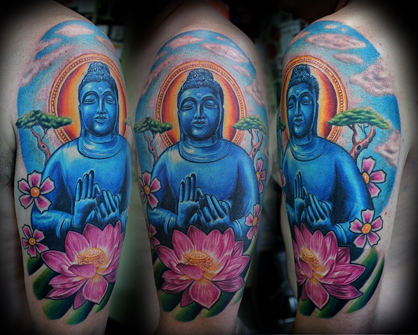 Coolest Blue Green Black And Red Color Ink Half Sleeve Buddha & Lotus Tattoo Design On Shoulder For Boys