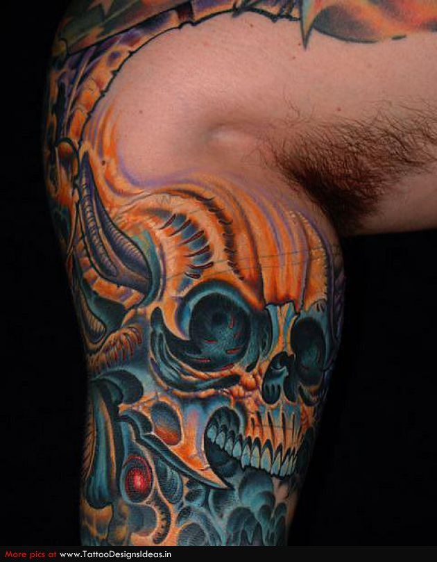 Coolest Blue Red And Black Color Ink Biomechanical Leg Skull Tattoo On Leg For Boys