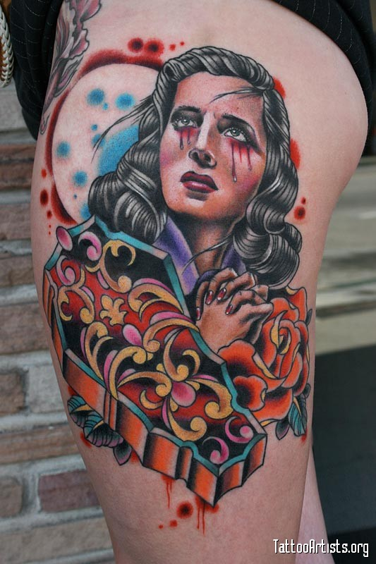 Coolest Blue Yellow Black And Red Color Ink Weeping Girl & Coffin Tattoo Design For Girls