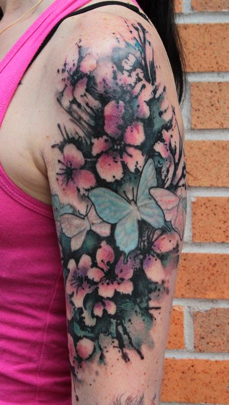 Coolest Green Black And Red Color Ink Half Sleeve Butterfly Cherry Blossom Tattoo For Girls