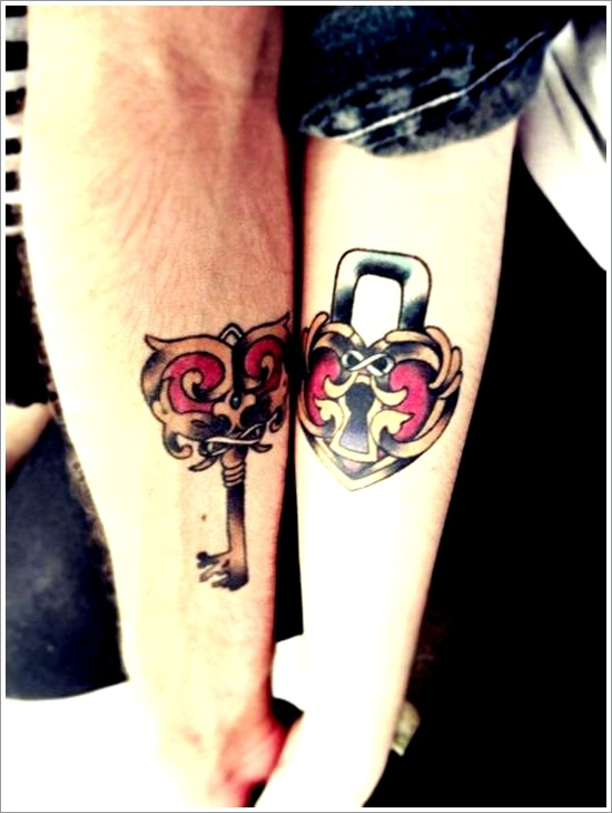 Coolest Red And Black Color Ink Couple Lock & Key Tattoo Design For Lovers