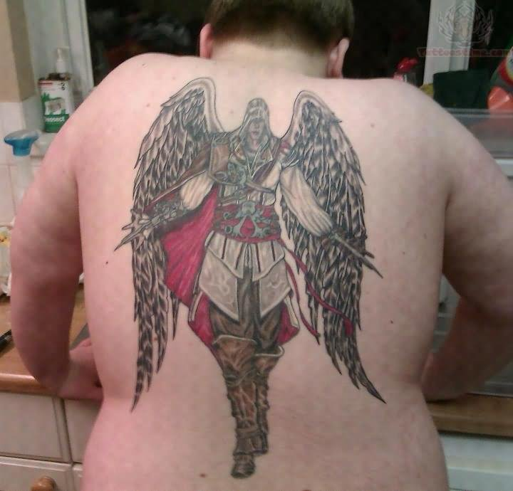 Crazy Black And Red Color Ink Angel Wings Warrior Tattoo On Back For Boys