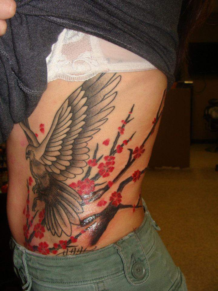 Crazy Black And Red Color Ink Bird & Cherry Blossom Tattoo On Rib Side For Girls