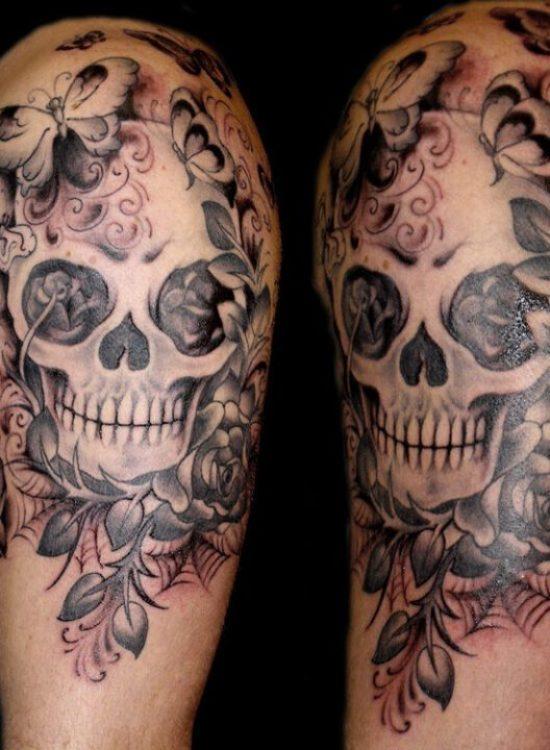 Crazy Black And Red Color Ink Death Skull Tattoo On Shoulder For Girls