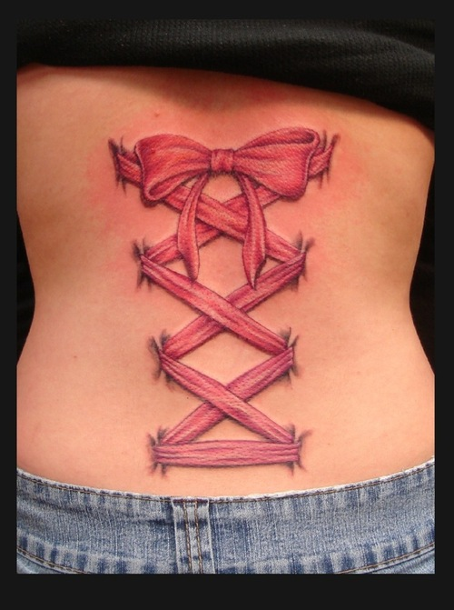 Crazy Black And Red Color Ink Design Corset Tattoo For Girls On Back