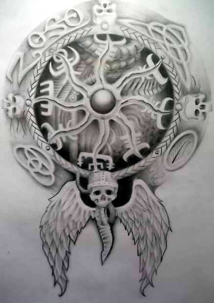 Crazy Black And White Color Ink Viking Compass Tattoo Sketch For Girls
