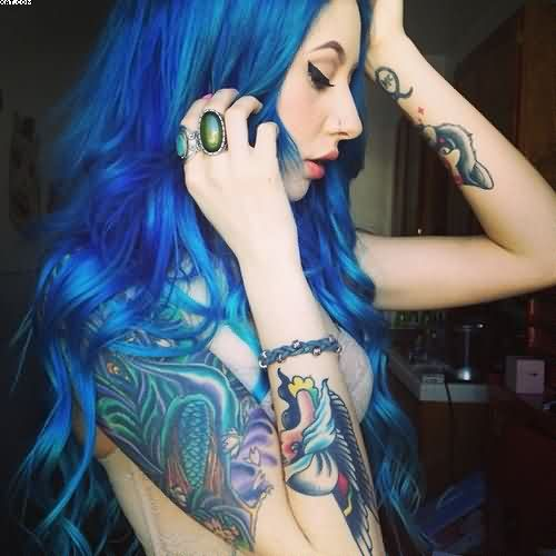 Crazy Blue And black Color Ink Aqua Tattoo Design On Girl's Arm For Girls