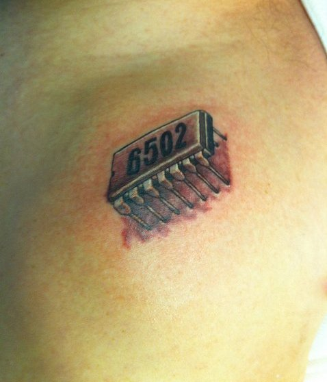 Crazy Red And Black Color Ink Electronic Chip Tattoo For Boys