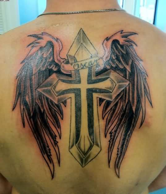 Creative Black And Red Color Ink Angel Tattoo With Cross On Upper Back For Boys
