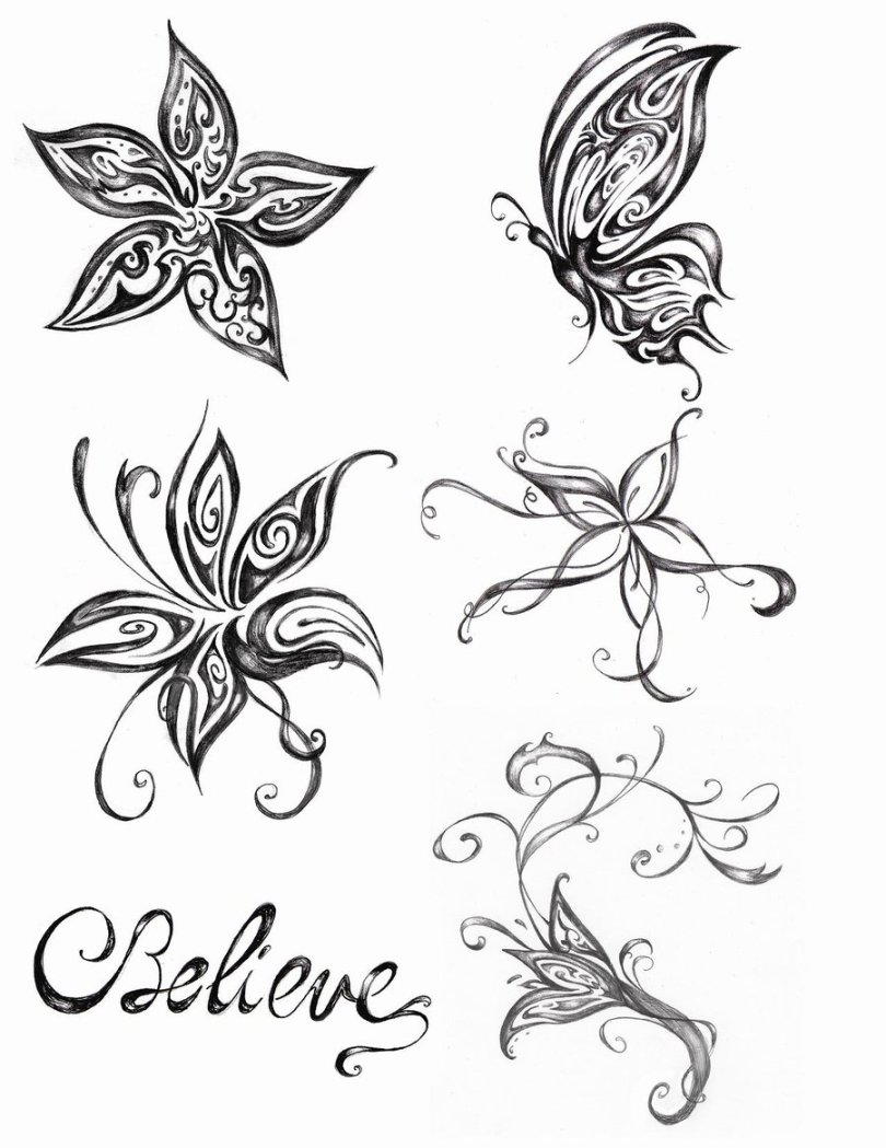 Creative Black And White Color Flowers & Butterfly Tattoo Designs For Girls With White Background