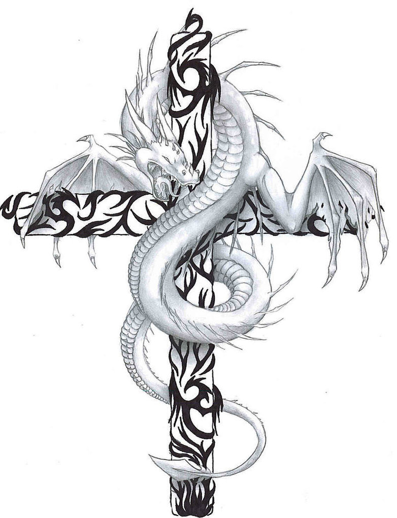 Custom Black And White Color Ink Dragon n Cross Tattoo Design For Girls