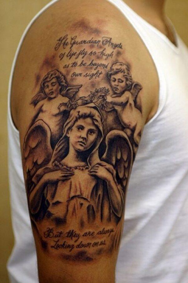 Custom Black Color Ink Half Sleeve Angel Babies Tattoo Design On Shoulder For boys
