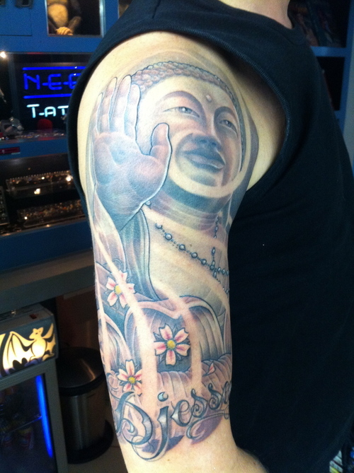 Custom Blue Black And Red Color Ink Half Sleeve Religious Buddhist & Flowers Tattoo On Arm For Boys