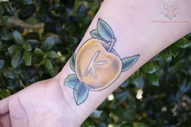Custom Green And Yellow Color Ink Apple Tattoo On Wrist for Boys