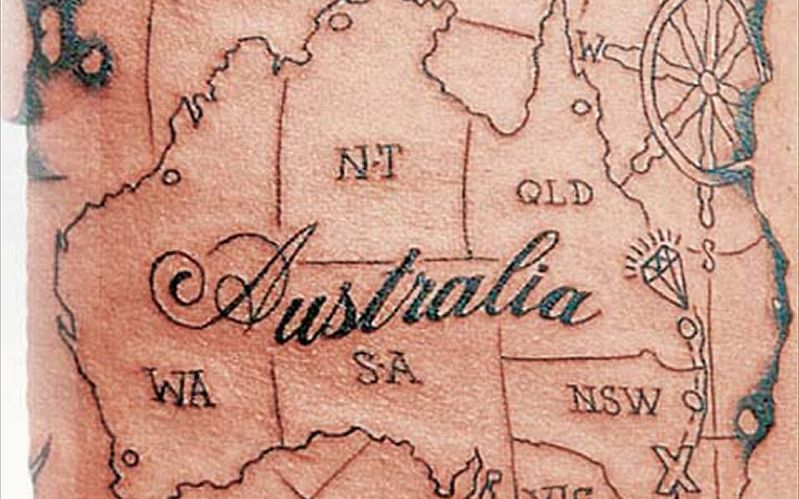 Cute Black And Red Color Ink Australia Country Map Tattoo Design For Boys
