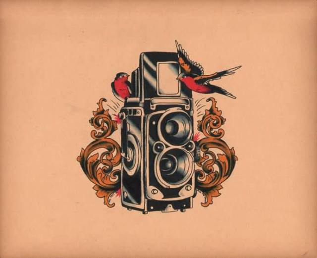 Cute Black And Red Color Ink Birds With Camera Tattoo Design On Back For Girls