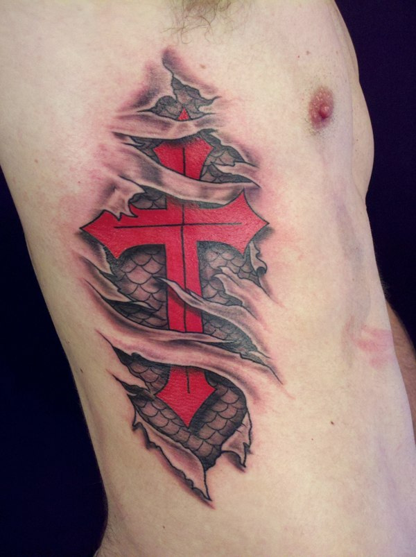Cute Black And Red Color Ink Ripped Skin Cross Tattoo On Body Side For Boys