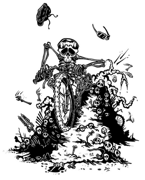 Cute Black Color Skeleton Bike Tattoo Design For Boys