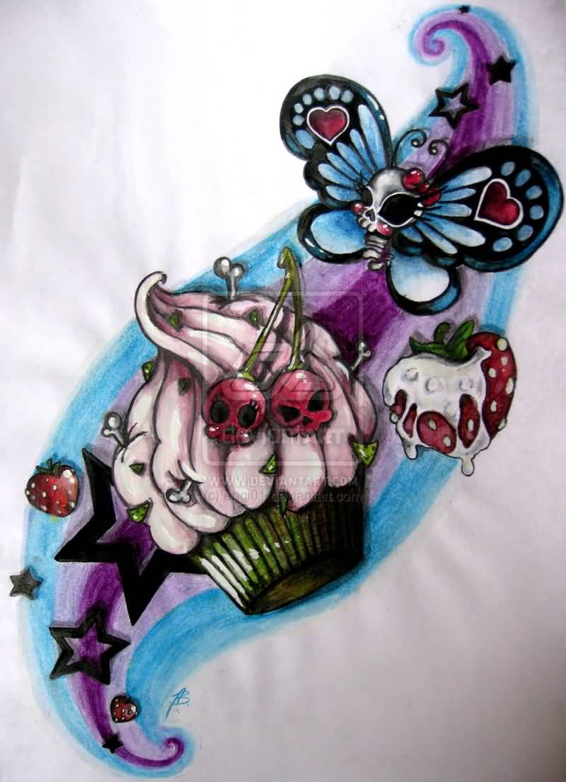 Cute Blue Green Black And Red Color Ink Skull Cake & Butterfly Tattoo Design For Girls
