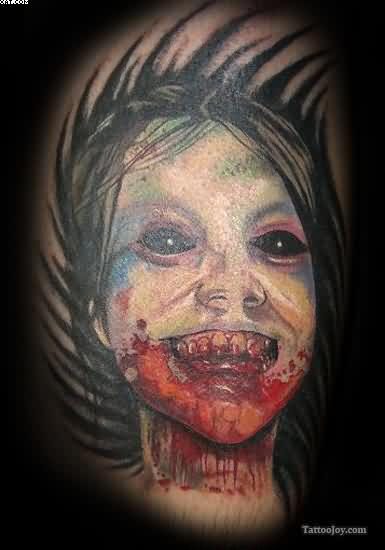 Cute Little Bleeding Zombie Girl Tattoo