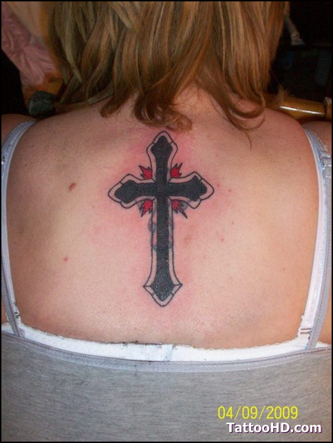 Cute Red And Black Color Ink Christian Cross Tattoo For Girls