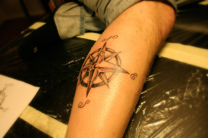 Cute Red And Black Color Ink Compass Tattoo On Leg For Girls