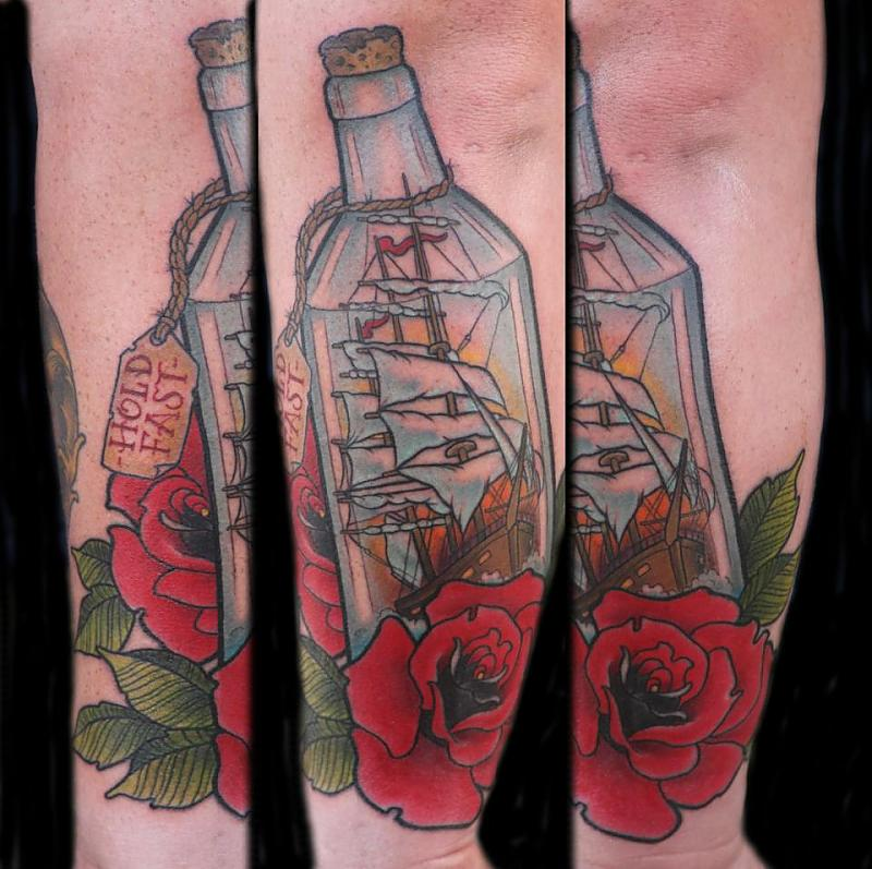 Cute Red Blue And Green Color Ink Bottle And Rose Tattoos On Arm For Boys