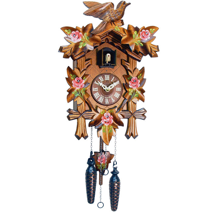 Cute Yellow Green Red And Black Color Ink Cuckoo Clock Tattoo Model For Girls