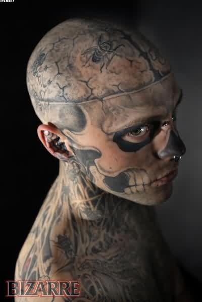 Dangerous Zombie Tattooed Guy On Head