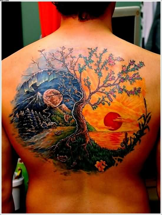 Dashing Colorful Yin Yang Tattoo On Back If Nature
