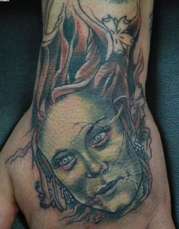 Dead Zombie Girl Head Tattoo On Hand Zombie Death Tattoo