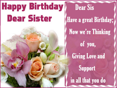Dear Sister Happy Birthday Wishes Image