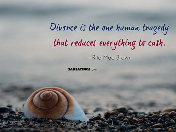 Divorce Quotes Divorce is the one human tragedy that reduces everything to cash. Rita Mae Brown
