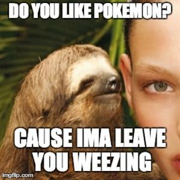 Do you like pokemon cause ima leave you weezing Funny Sloth Whisper Memes