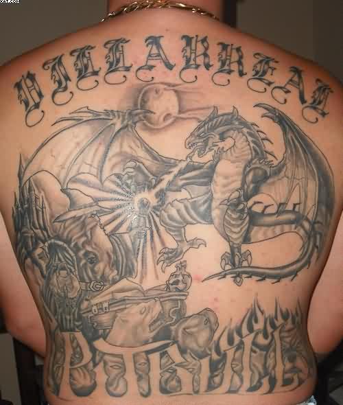 Dragon Tattoos On Back Fighting With Wizard For Guys