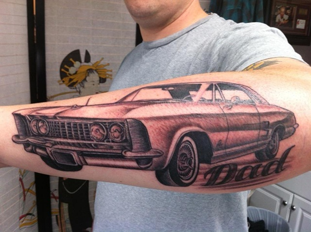 Elegant Black And Red Color Ink Dad Car Tattoo On Forearm For Boys
