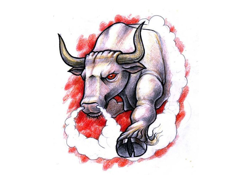 Elegant White Black And Red Color Ink Angry Bloody Bull Tattoo Design For Boys