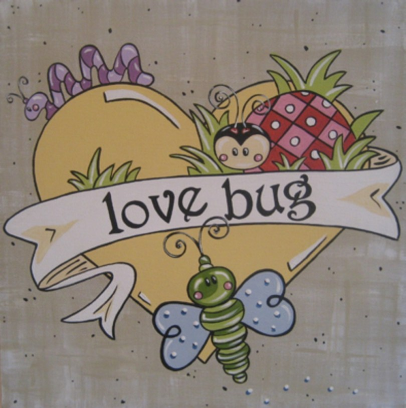 Elegant Yellow Blue Black And Red Color Ink Love Bug Tattoo Design For Boys