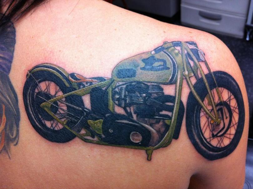 Extremely Green Blue And Black Color Ink Bike Tattoo On Shoulder Back For Girls