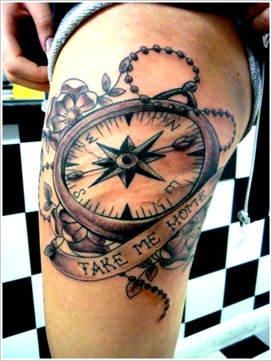 Extremely Red And Black Color Ink Compass Tattoo Design On Thigh For Girls