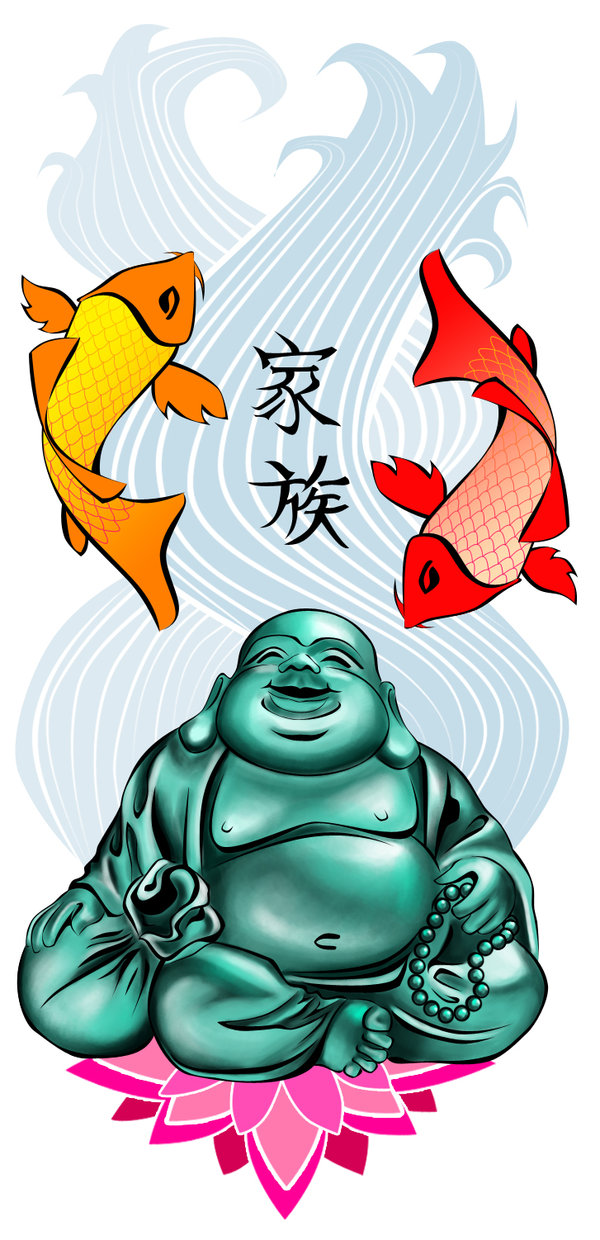 Extremely Red Yellow And Green Color Buddhist & Fishes Tattoo Design For Tattoo Fans